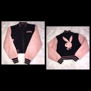 PLAY BOY BLACK AND PINK JACKET/ ❤️